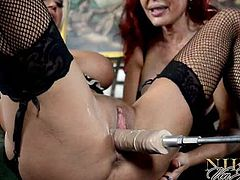 Checkout these two hot and big titted milf in this hot video.One is blonde named as Nikita and other is redhead busty milf Sexy Vanessa playing with a fucking machine.