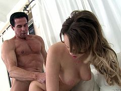 A nasty-ass tramp sucks on a hard cock and then gets her fuckin' gash stuffed with fuckin' dick, check it out right here!
