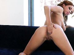 Ashley Graham with big boobs and smooth pussy cant live a day without playing with her love tunnel