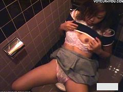 Many office ladies whose sexual desire cannot be met come to the office building restroom to masturbate! This asian hottie doesn't make an exception!