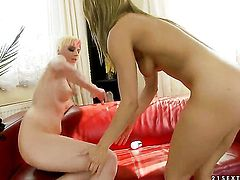 Blonde Nikky Thorne gets her snatch attacked by lesbian White Angels tongue