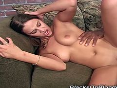 White girl plays with her hot pussy and rides a big black cock