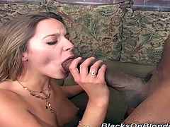 Hot Poppy Morgan takes off panties and rubs her pussy lips. Then this babe gives a blowjob to a Black guy with a huge dick. Then Poppy gets fucked deeper than ever before.