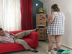 Light head old smelly bitch cleaned floor. This freaky stud asked her to tickle his buddy by her old sweet tongue. This chubby slut set on swallowing this penis and deserved hardcore mish way hammering of her old flaccid slit. Take a look at this ugly fat bitch in Fame Digital porn video!