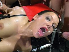 Hotties are in for wet surprises during nasty gang bang porn