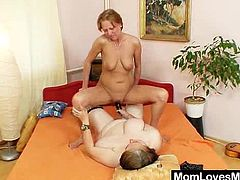 Orgasmic housewife gets toyed by much old huge titted grandma.