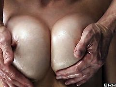 Johnny Sins gets seduced into fucking by Nasty goddess Eve Laurence with juicy tits