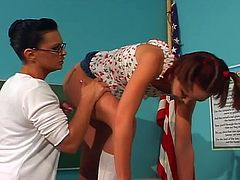 This hot teen get her pussy fingered and her ass fucked with a strap-on by her horny lesbian teacher.