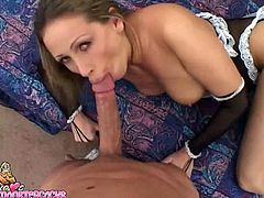 Seductive and appetizing filth Mandy Bright in sexy black lingerie and stockings gives her boyfriend an unforgetable blowjob.