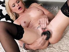 Alexis Ford is on the way to the height of pleasure with vibrator in her pussy hole