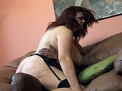 Fat perverse redhead in gets interracial ass fucking