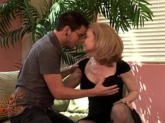 Have fun with this hardcore scene where the sexy mommy Nina Hartley is fucked silly by a stud as she wears sexy lingerie.