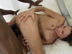Skinny bitch gets her asshole poked by big black dick