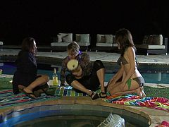 Aiden Ashley, Carmen Valentina and Zoe Britton are playing lesbian games in the yard. The babes caress each other and then show their terrific pussy-licking skills.