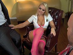 Alexis Monroe is petite blonde in a sexy outfit. Any man would be happy to fuck suck a girl. Alexis sucks two dicks right in the office. Then she lies down on a table and gets tight vagina fucked hard.