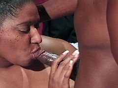 Horny fat ebony babe enjoys non-stop greasy pussy ramming as she takes huge black cock.
