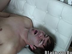 This White guy gives a blowjob to a Black guy. Joey loves interracial sex because Blacks have bigger dicks than Whites. He strokes his dick while getting ass fucked.