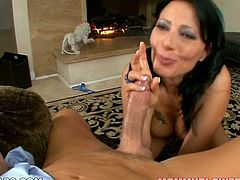 Dark haired lusty chick with awesome titties posed on her knees and decided to make that unhappy guy feel divine. She swallowe dhis long staff cock properly. Look at this smart sex pot in My XXX Pass sex clip!