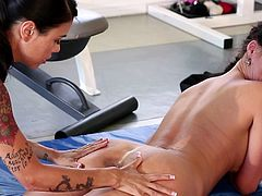 Dazzling babes with great forms in one naughty lesbian masturbation show