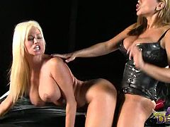 Lewd lesbians Ava Devine and Nikita Von James. Their bodies are to die for. With massive tits like those and curves to enjoy, they will make anything happen in this domination encounter.