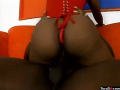 This chocolate temptress knows how to suck! She sucks her boyfriend's dick with unrestrained passion to get it hard and ready. Then she rides his swollen cock in cowgirl position making her fat ass shake like jello.