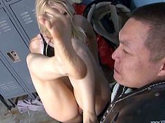 Check out this fetish scene where the sexy Ashley Fires makes this guy lick her feet before she gives him a footjob.