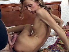 Horny and kinky slut with small boopies and light hair gets hammered hard by the hunk on the bed. Watch at this gal in Fame Digital xxx clip.