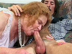 She's old, she smells, and she's ugly, but she still needs some loving. This creeper comes in and has offered his dick up to this ginger granny. she is eternally grateful that she sucks him off right then and there, in the nursing home.