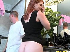 Redhead Rainia goes in the shower to clean her booty only to get it dirty again. Tony helps her out and makes sure she's nice and wet. After that quick showering, Rainia kneels right there in the bathroom, opens wide and sucks his dick. Curious what else this curvy redhead will do? Than stay with us and find out!