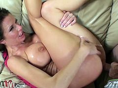 Curly haired seductive bim with magnificent boobs rested on her back in missionary position. That feverish dawg ardently invaded her thirsting pussy right away. Look at this passionate fuck in My XXX Pass sex video!