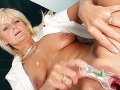 Mature nurse in dirty solo action