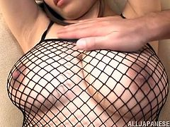 beauty in fishnet costume gets teased