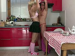 My mom and my gf love to cook so one day I left them all alone in the kitchen. instead of cooking a meal, these whores start acting all naughty and they've undressed each other. Mom loves my blonde gf's body and softly touched her as she was sucking her nipples. Yeah, let's see how hot things get get in the kitchen!
