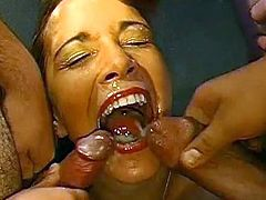 Enjoy one crazy slut screaming like a slut during top gang bang scene
