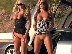 Be part of this reality video where two blonde babes, with nice asses wearing sexy dresses, get naked next to a fancy car and act naughty!