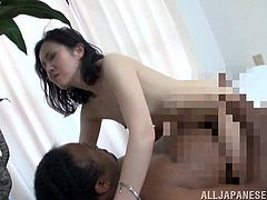 She is amazed, at how big black cocks can be and this mature Japanese slut gets her tits squeezed by the big black guy. She climbs on top of his cock and rides his dong like wild. She gets stretched out nice and good.