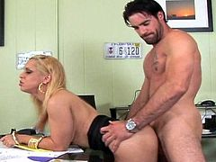 Nothing pleases her more than having her cunt ravaged at work