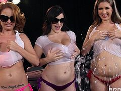 Danny is crippled so the girls had a great idea to pay his medical bill, a wet t-shirt contest! Damn, look at all those wet boobs and how much fun the chick have. surely Danny is happy now and maybe he will even receive a small bonus from these girls, something like a wet titjob or maybe lots of head!