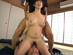 Wakaba's perfect boobs are still making guys wanna fill her up. This slutty Asian milf is not only smoking hot, she's eager to satisfy these two guys. First, she sits with her pussy on one of them, grinding her cunt on his face and then, takes care of both, as she sucks cock and gets fucked from behind