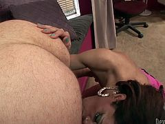 Dark and long haired shemale bitch with small titties greedily jumped on massive penis of her dawg and set to ride it hard in reverse cowgirl style. Look at this hot TS anal invasion in Fame Digital porn clip!