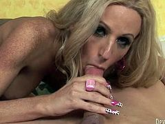 Horny and sexy shemale with light hair and nice legs sucks the dick and gets her butthole drilled in cowgirl pose. Have a look in steamy Fame Digital sex video.