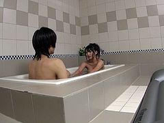 This cute Japanese babe is quite girlfriend. She gets into the bathtub with her man and washes him all over his body. Now that he is clean she sucks him nice and good. The cum is dripping out on her mouth and into the bath water!