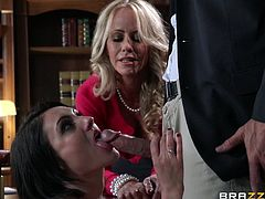 Mommy Simone and Chase are two filthy whore that need a hard cock, hard as Johnny's. These bitches play hard to get but as soon as Johnny takes out his rod, they start to drool! Chase is the first that has a taste and then Simone joins in. Now they share it like good girls but which one will receive the cum load?