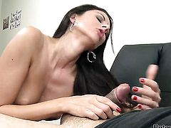 Nikki Daniels gets her nice face covered in man goo after sex with horny guy