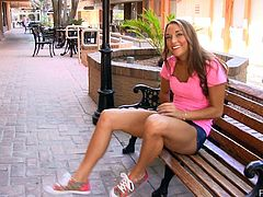 Mary is a cute girl in a pink t-shirt and jeans shorts. She walks in the street doing some nasty stuff. Then this babe flashes her tits and pussy in the shop.