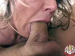 Kinky blondie Kelly Leigh enjoys sucking a huge cock
