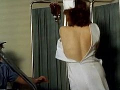 Filthy whore with dark hair and amazing shape gets her tight pussy banged in hospital in cowgirl pose. Have a look at this beauty in The Classic Porn sex video.