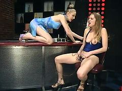 Alluring Leila has Her downy hoo-hoo Toyed At the Bar