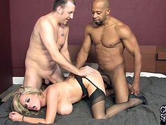 Witness this reality video where a blonde wife, with titanic bazookas wearing nylon stockings, goes hardcore with a black dude next to her cuckold.
