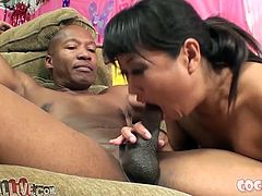 Dark haired Asian gal with small boobies harshly sucks impossibly massive black sausage. A bit later her slutty kooky joined to help her. Look at this dirty group hammering in My XXX Pass sex clip!